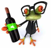 Fun frog with bottle of wine — Stockfoto