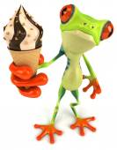 Fun frog with ice cream — Stock Photo