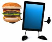Fun tablet with burger — Stock Photo