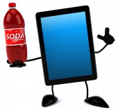 Fun tablet with soda — Stock Photo