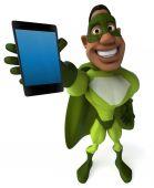 Fun superhero with smart phone — Stock Photo