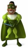 Fun superhero using tablet — Стоковое фото