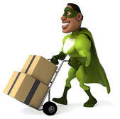 Fun superhero moving boxes — Стоковое фото
