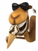 Fun camel with ice cream — Stock Photo