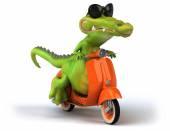 Fun crocodile on scooter — Stock Photo