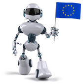 Robot with flag of Europe — Stock Photo