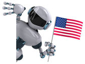 Robot with American flag — Stock Photo