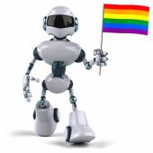 Robot with a rainbow flag — Stockfoto