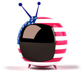 Television with colors of American flag — Stock Photo