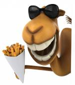 Fun camel with French fries — Stock Photo