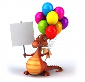 Fun dragon with balloons — Foto Stock