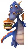 Fun dragon with burger — Foto Stock