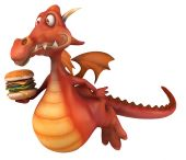 Fun dragon with burger — Stock Photo