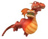 Fun dragon with burger — Zdjęcie stockowe