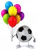 Football ball with colorful balloons — Zdjęcie stockowe