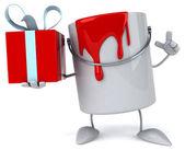 Paint bucket with gift — Stockfoto