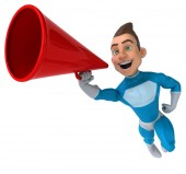 Fun superhero with loudspeaker — Photo