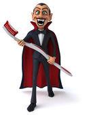 Fun vampire with toothbrush — Stock Photo