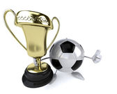 Football ball with trophy — Photo