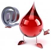 Blood drop with internet symbol — Stock Photo