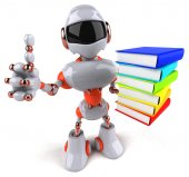Robot with stack of books — Stock Photo