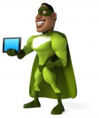 Fun superhero with computer tablet — Stockfoto