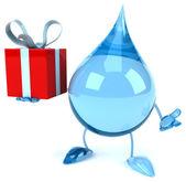 Water drop with gift — Zdjęcie stockowe