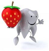 Забавный зуб с земляникой — Стоковое фото
