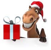 Fun horse with present — Stock Photo