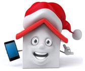 забавный дом со смартфоном — Стоковое фото
