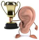 Fun ear with golden trophy — Stock Photo