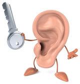 Fun ear with key — Stock Photo