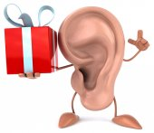 Cartoon Ear with present — Stock Photo