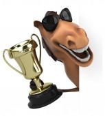 Весело лошадь с трофеем — Стоковое фото