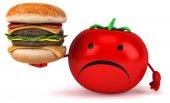 Fun tomato with burger — Stock Photo
