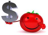Fun tomato with dollar sign — Stock Photo