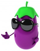 Eggplant in sunglasses isolated on white — Stockfoto