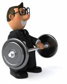 Fun businessman with weights — Stock Photo