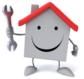 Cartoon house with wrench — Stock Photo