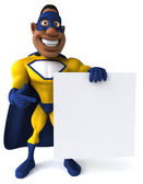 Fun superhero and blank board — Stock Photo