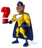 带问号的超级英雄 — 图库照片