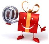 Fun gift with email symbol — Stock Photo