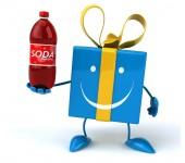Spaß Geschenk mit Limo-Flasche — Stockfoto