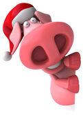 サンタ帽子で豚を楽しい — ストック写真