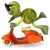 Cartoon Turtle on scooter — Stockfoto