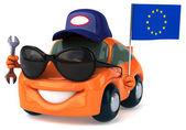 Fun car with European flag — Stock Photo