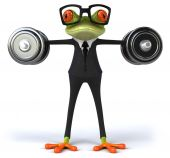 Fun frog in suit with weights — Foto Stock