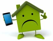Cartoon house with cell phone — Stock Photo