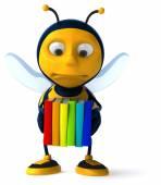 Fun bee with books — Stock Photo
