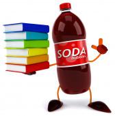 Soda bottle with books — Stockfoto